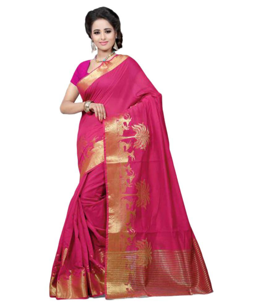 7 Star Jewel Pink Cotton Saree