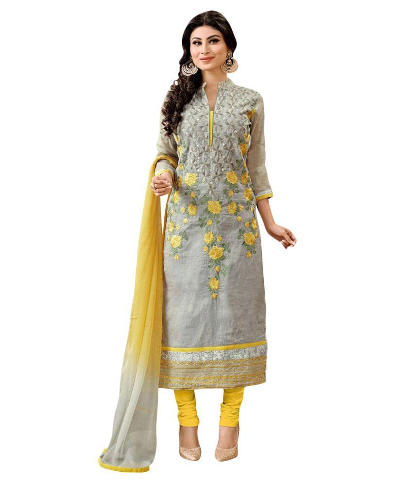 Fabvila Grey Cotton Dress Material