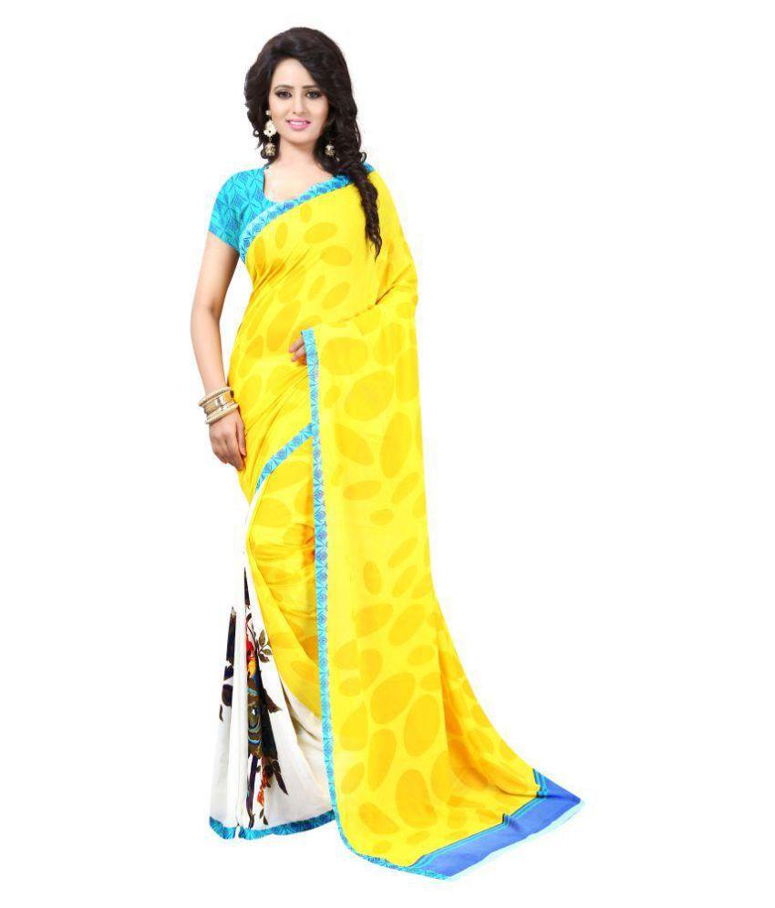 Royal Fashion Yellow Georgette Saree