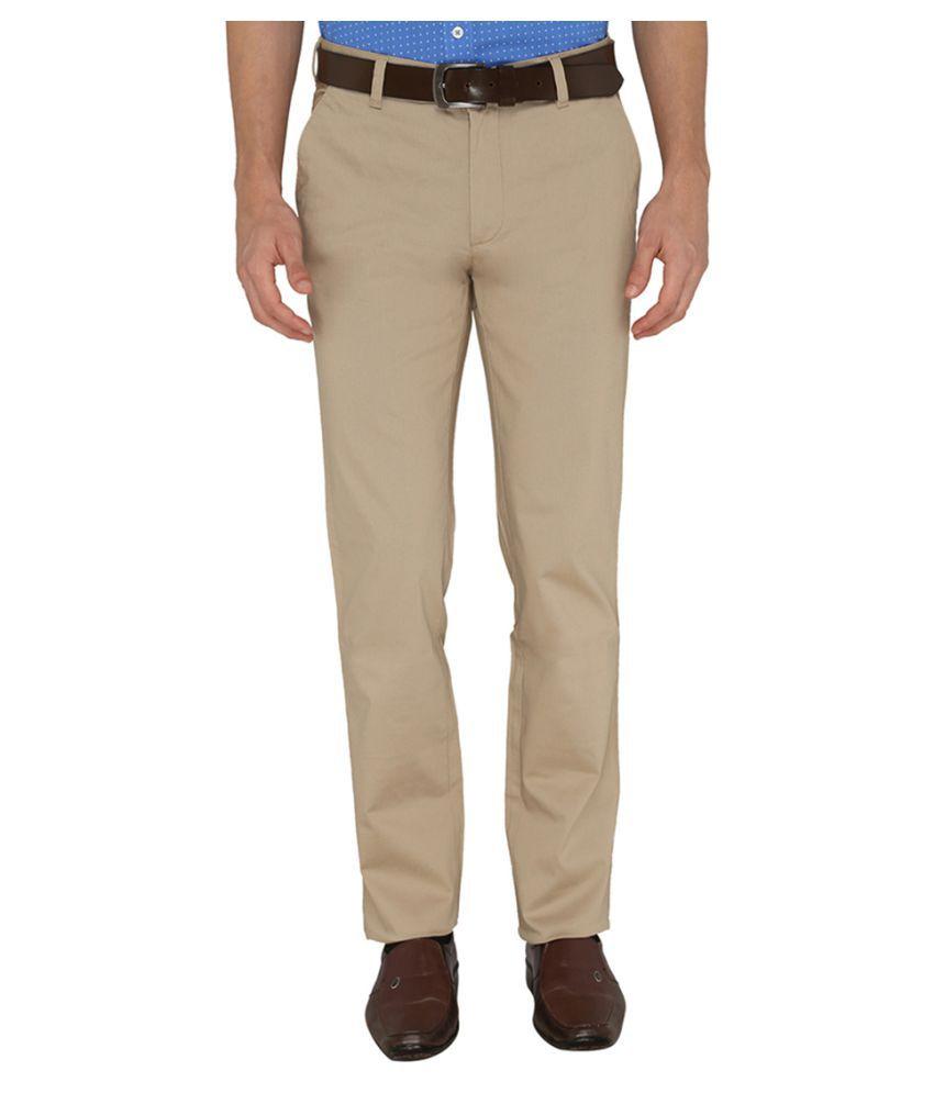 Greenfibre Beige Slim Flat Trouser