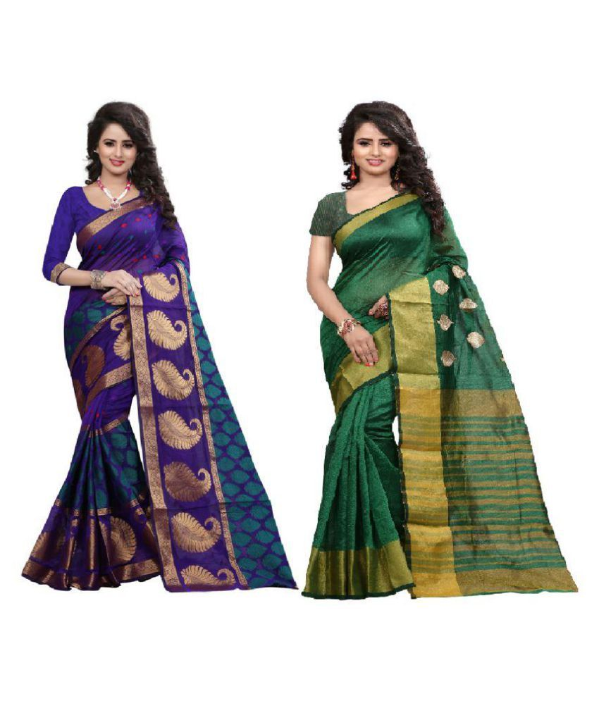 Bindani studio Multicoloured Art Silk Saree Combos