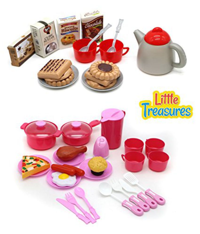 LITTLE TREASURES 2 sets in 1 Mini Light-Wight 42-Pcs Snack & Food Set - Ideal for Children Ages 3+