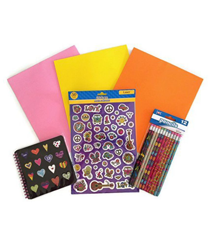 Peace Love Back to School Glitter Binder Sticker Hearts Pencil Supply Bundle - 4 Items: One Heart Sp kids educational playing toy