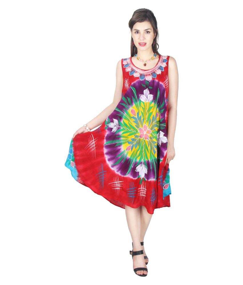 SpringDeal Multi Color Cotton Asymmetric dress