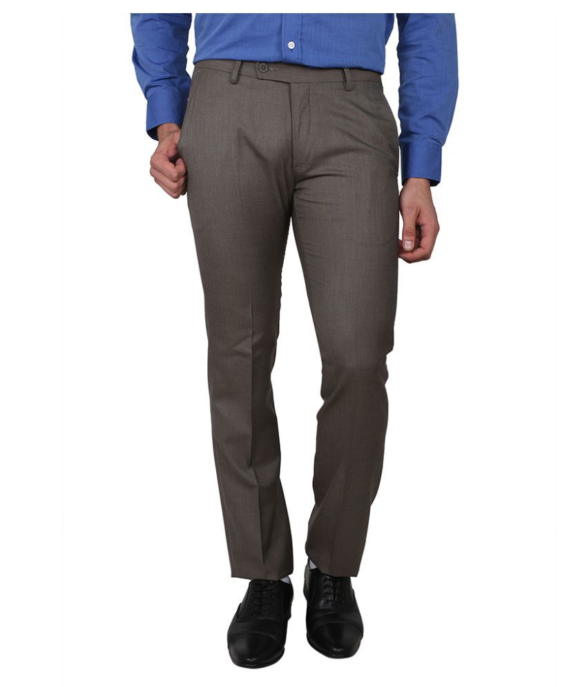 Arrow Brown Slim Flat Trouser