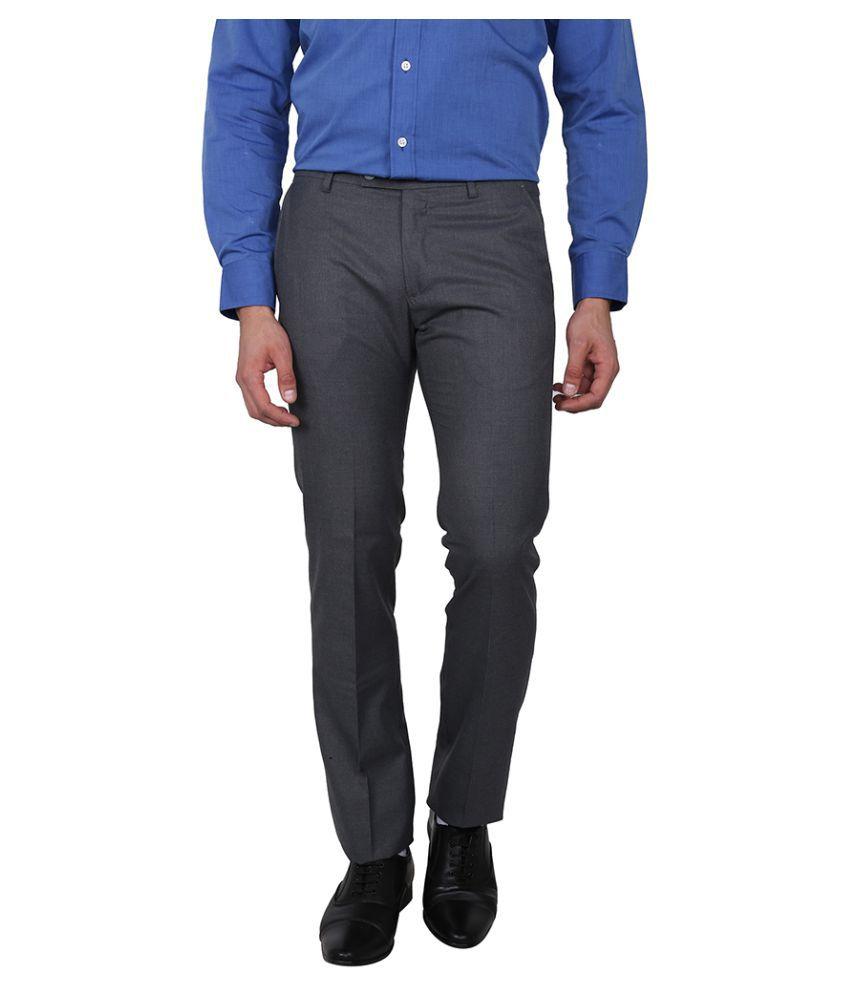 Arrow Grey Slim Flat Trouser