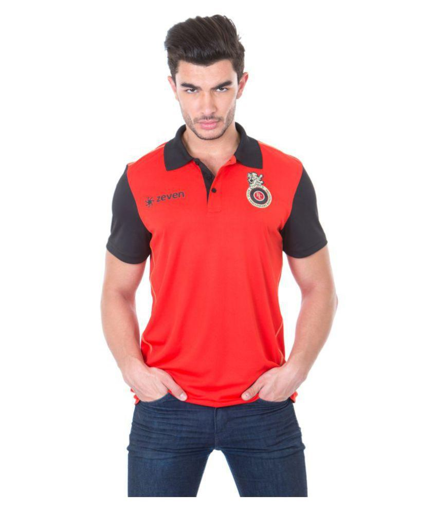 Zeven Red Regular Fit Polo T Shirt