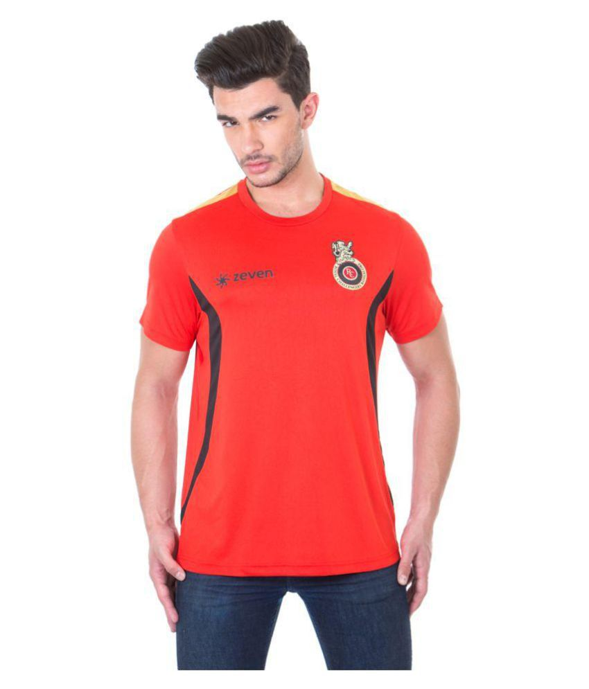 Zeven Red Polyester T-Shirt Single Pack
