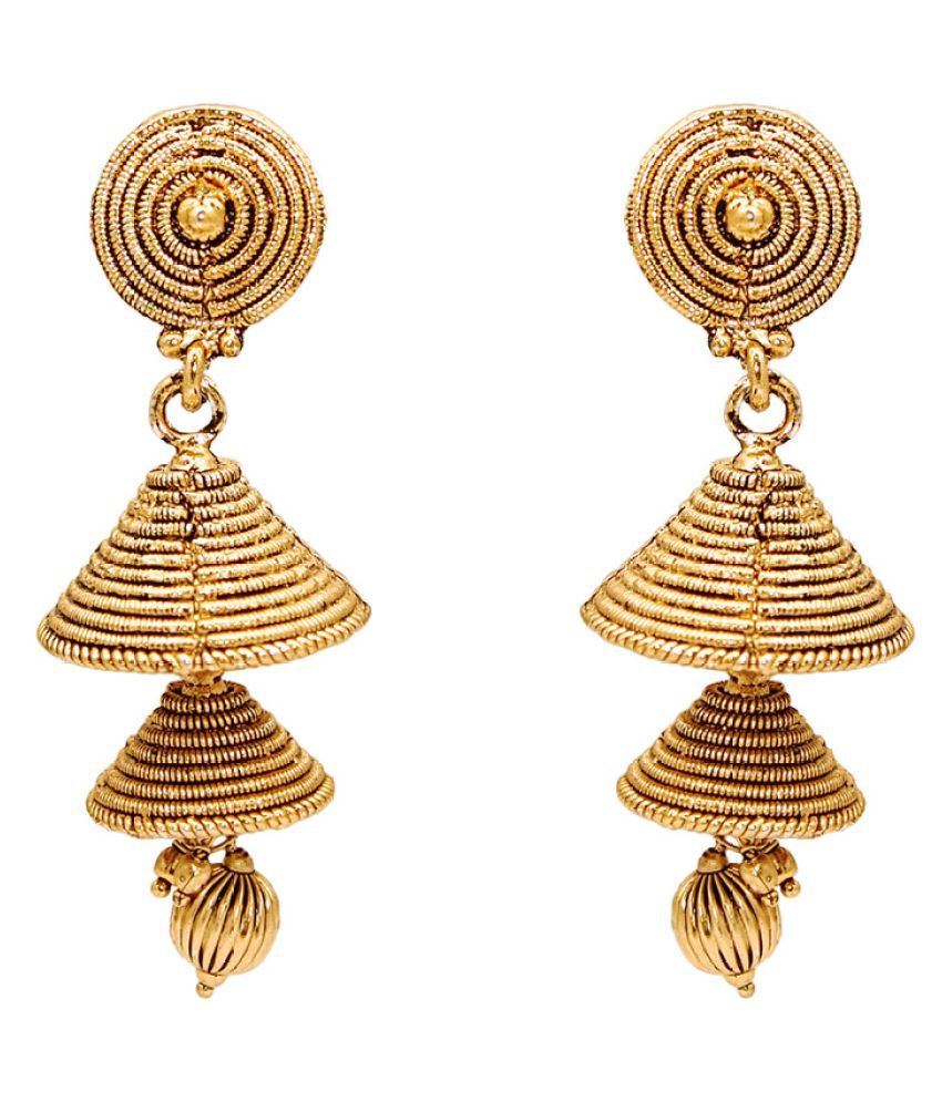 Kriaa Gold Plated Jhumki Earrings