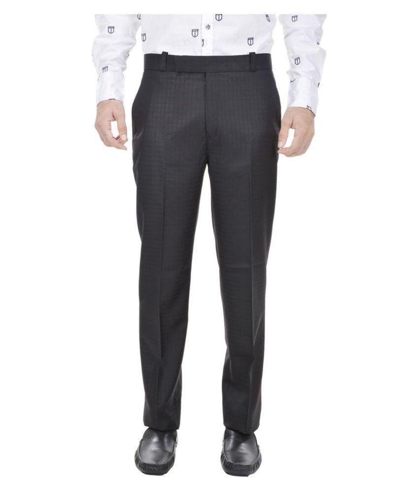 Trisera Black Slim Flat Trouser