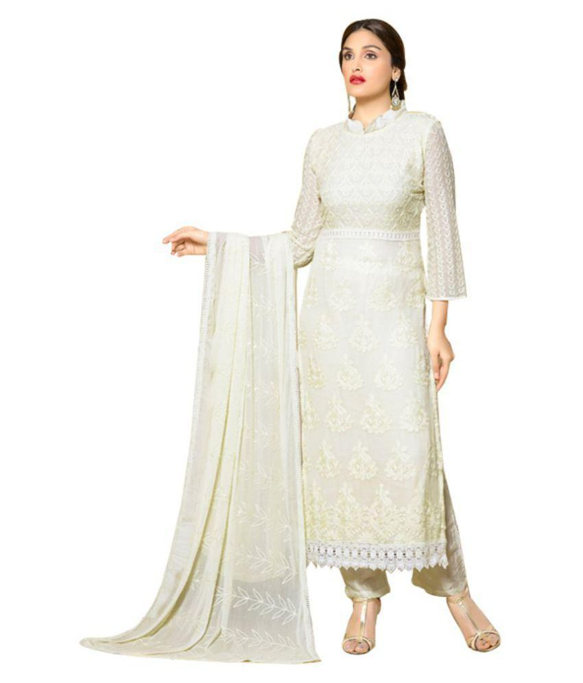 56033a89d1 Vandvshop White Nazneen Dress Material - Buy Vandvshop White Nazneen Dress  Material Online at Best Prices in India on Snapdeal