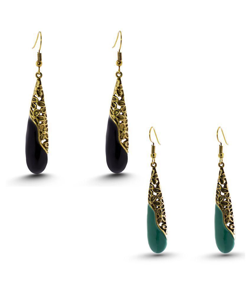 Three Shades Multicolour Alloy Earrings Combo