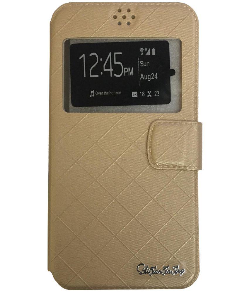 Micromax Canvas Amaze 4G Q491 Flip Cover by Lomoza - Golden