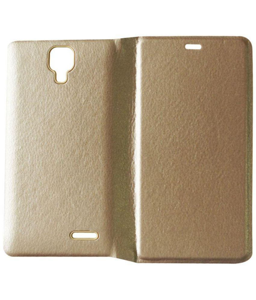 newest ffcb8 79708 Micromax Canvas 5 Lite Flip Cover by Wtc - Golden - Flip Covers ...