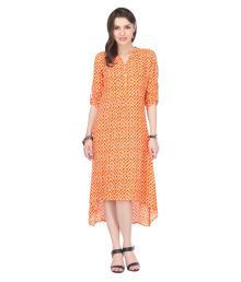 Riti Riwaz Orange Rayon Asymmetric Dress