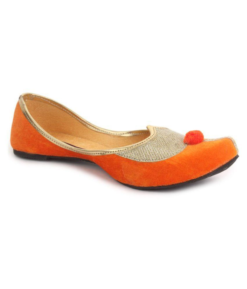 Evisan Orange Flat Ethnic Footwear