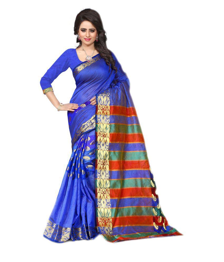 Inheart Blue Cotton Silk Saree
