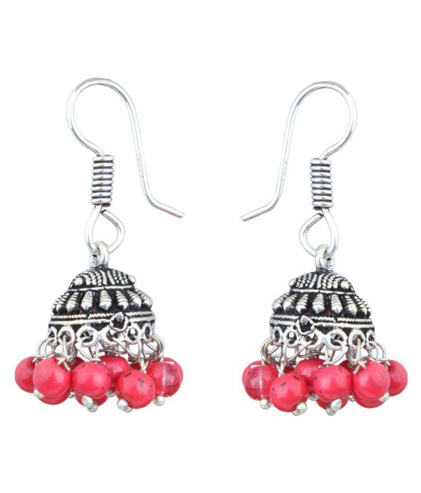 Waama Jewels Jhumki Earring Silver Plated College Wear Oxidised For Artificial Jewellery Vintage Fashion