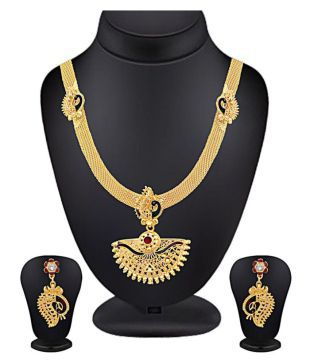 f4a90c5b1cc36 Spargz Alloy Golden Long Haram Traditional Gold Plated Necklaces Set ...