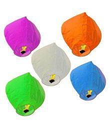 The Flyer's Bay Multicolour Lamps Paper Hot Air Balloon - Set Of 20