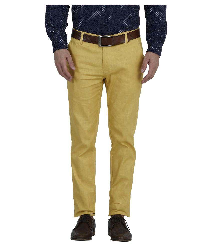 Blimey Yellow Slim Flat Trouser