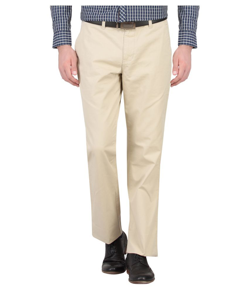 Knighthood By FBB Beige Regular Fit Trouser