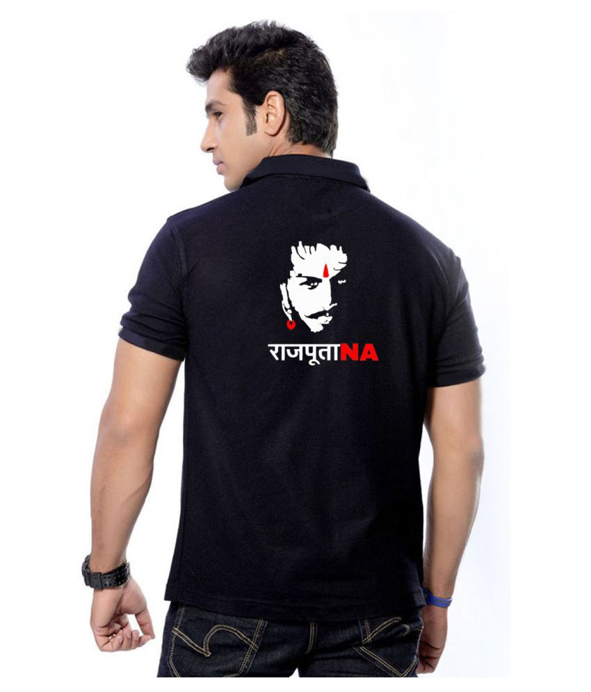 Black t shirt buy online -  Rajputana Brothers Black Regular Fit Polo T Shirt