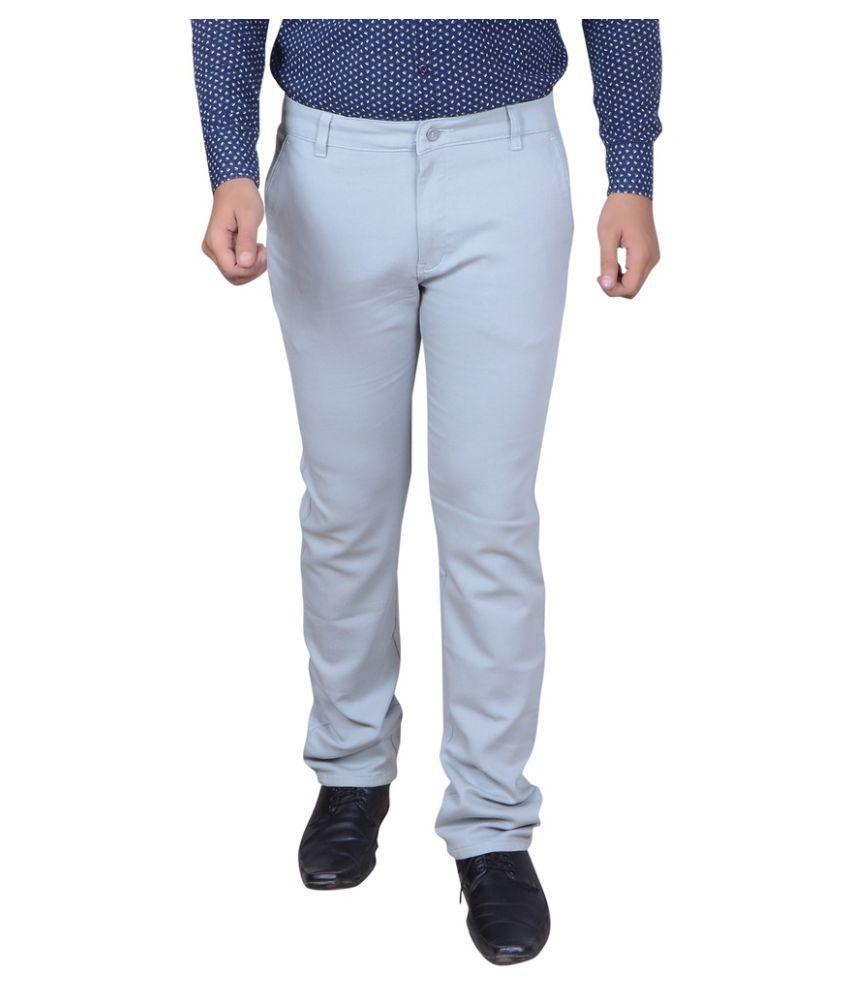 Capy Blue Regular Flat Trouser