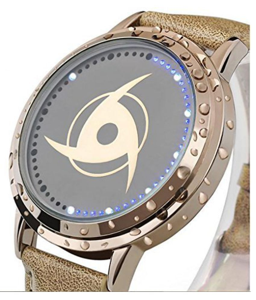 Naruto Anime Watch Cool LED Watch Golden Round Wrist Alloy
