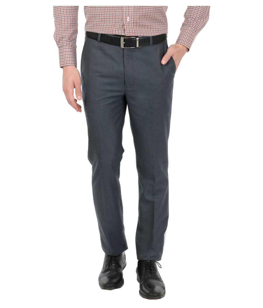 Zido Grey Slim Flat Trouser