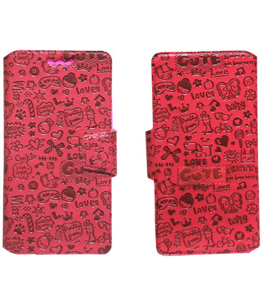 Xolo A800 Flip Cover by Jojo   Red available at SnapDeal for Rs.590
