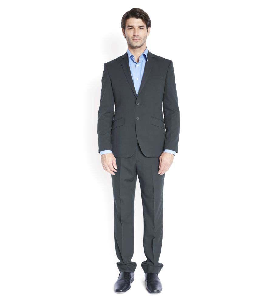 Park Avenue Grey Solid Formal Suit