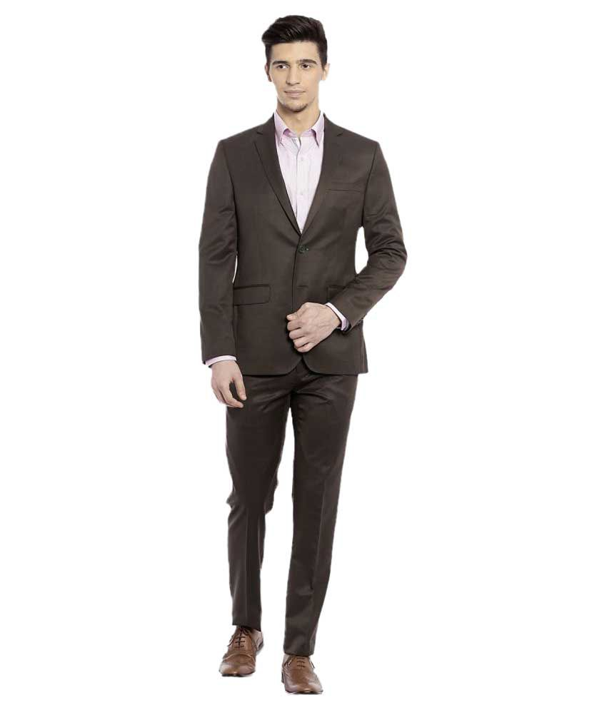 Raymond Brown Solid Formal Suit