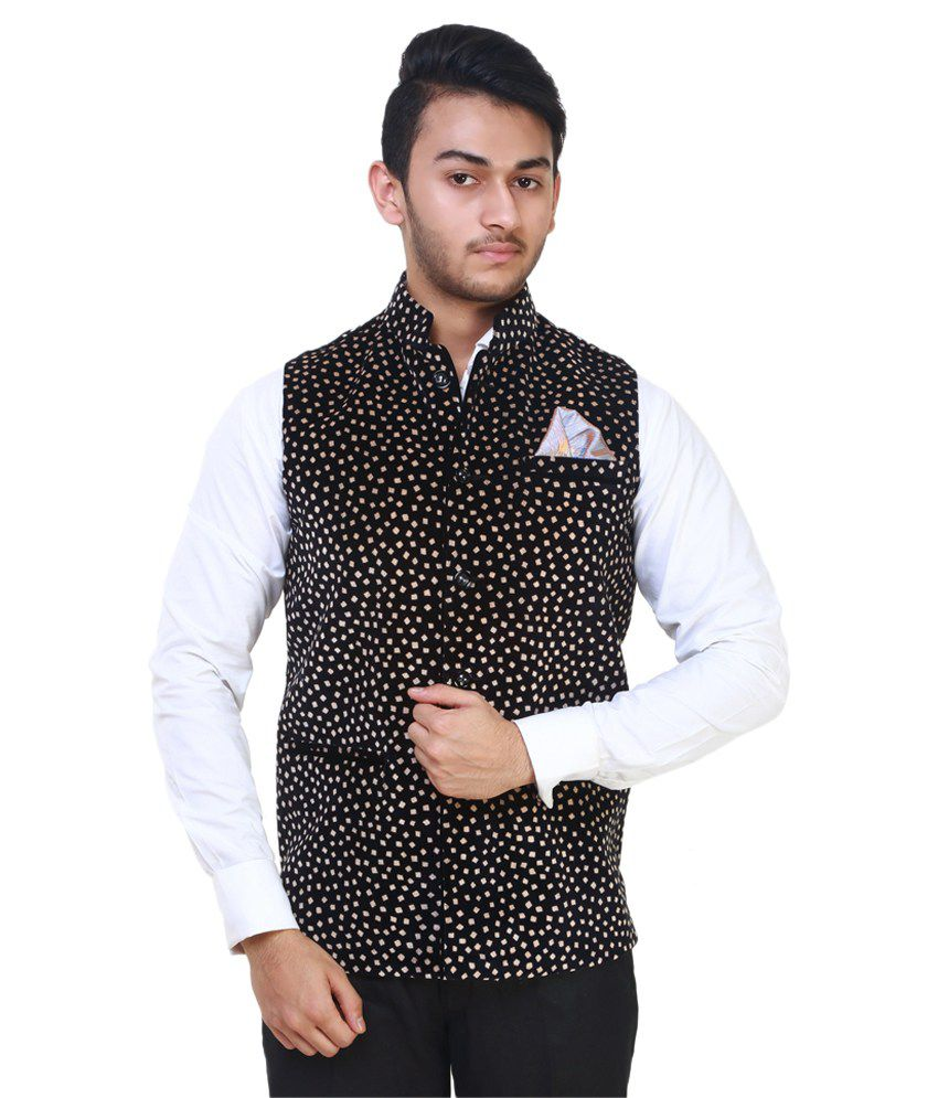 MDS Jeans Black Printed Casual Waistcoats