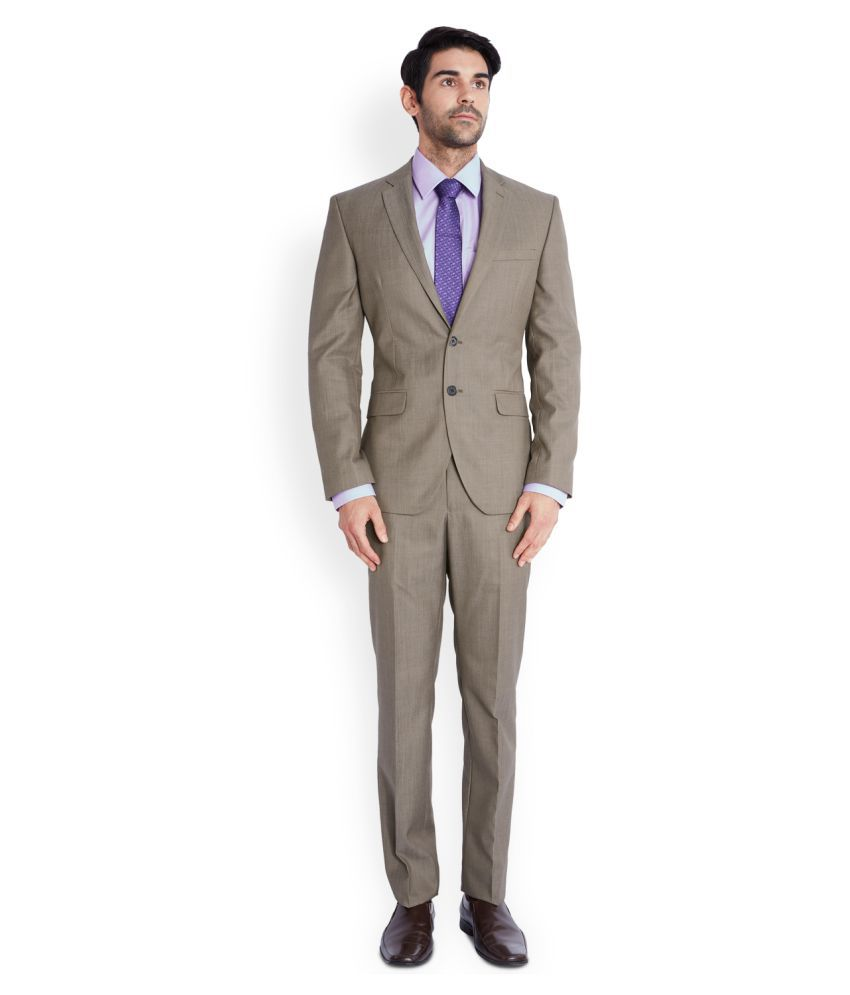 Park Avenue Beige Solid Formal Suit