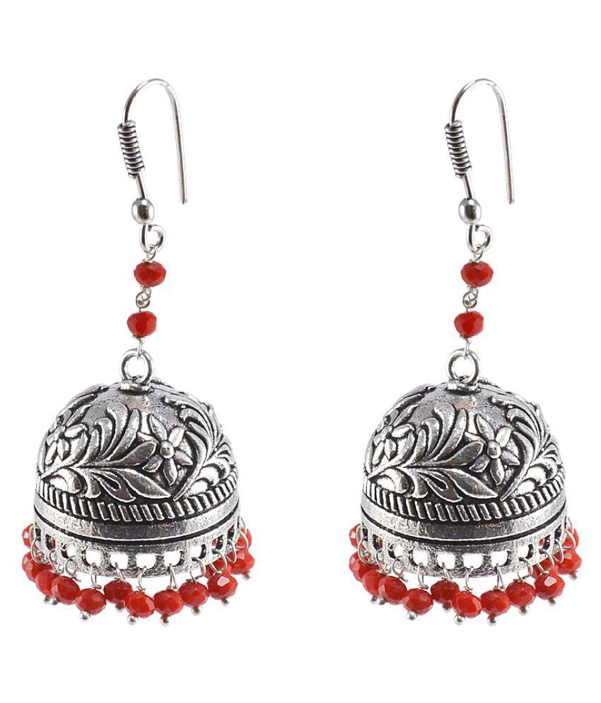 Silvesto India Coral Quartz Silver Plated Inspired Jhumka Earrings For Girls & Women PG-25878