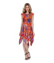 Pavan Dresses Orange Crepe Asymmetric Dress