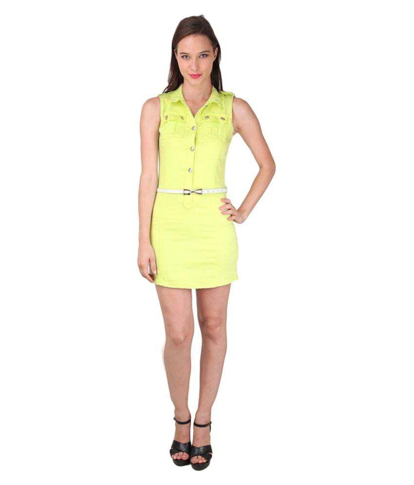 Godinattire Denim Slim Fit Day Dress- Green