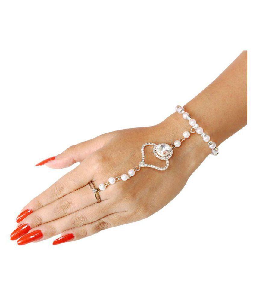 Sanjog Golden Elegant Bangle Hand Harness Finger Ring Bracelet For Girls Kids