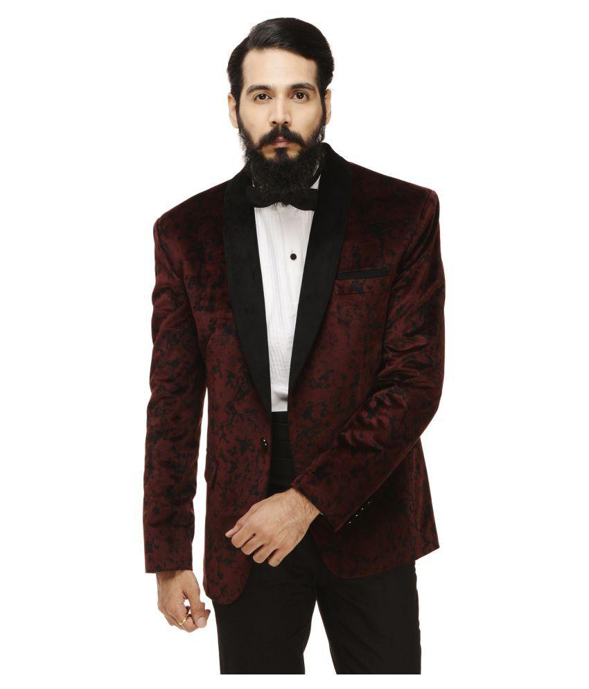 Monteil & Munero Maroon Printed Casual Blazers