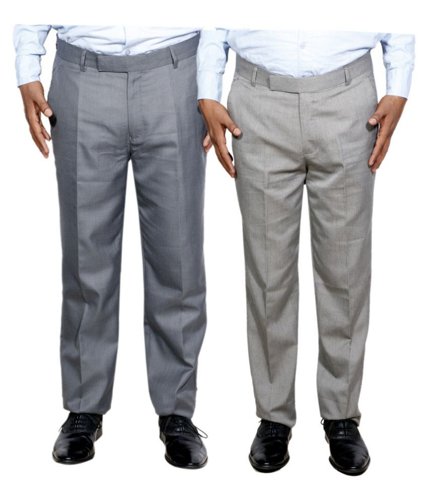 IndiWeaves Grey Regular Flat Trouser