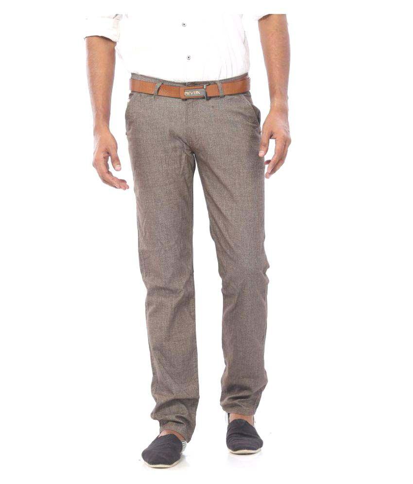 Rivex Beige Regular Pleated Trouser