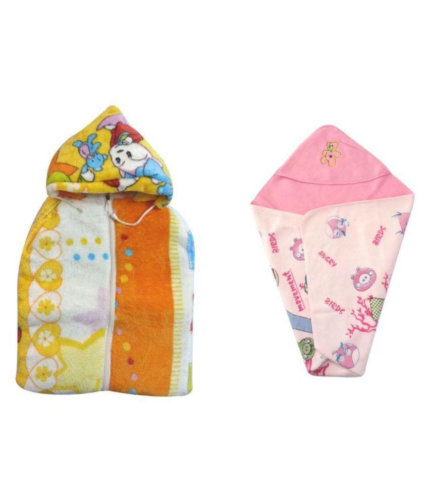 Aaaao Baby Multicolour Cotton Sleeping Bag with Baby Wrap