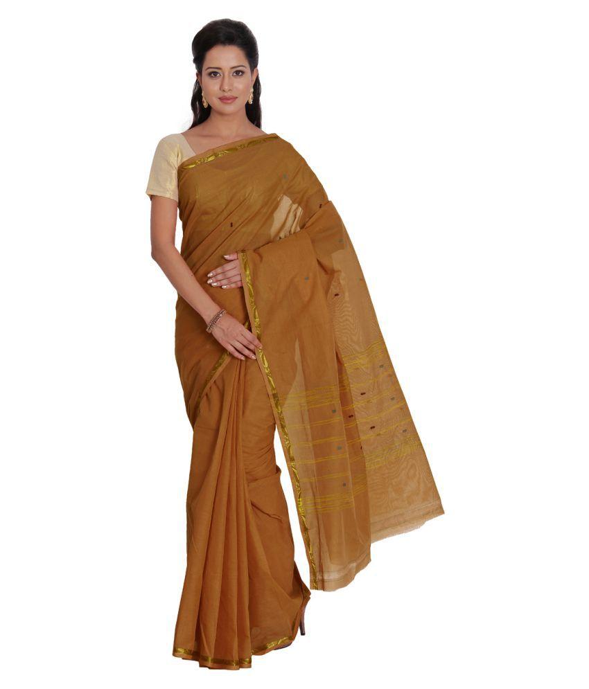 Pratamika Brown Cotton Saree