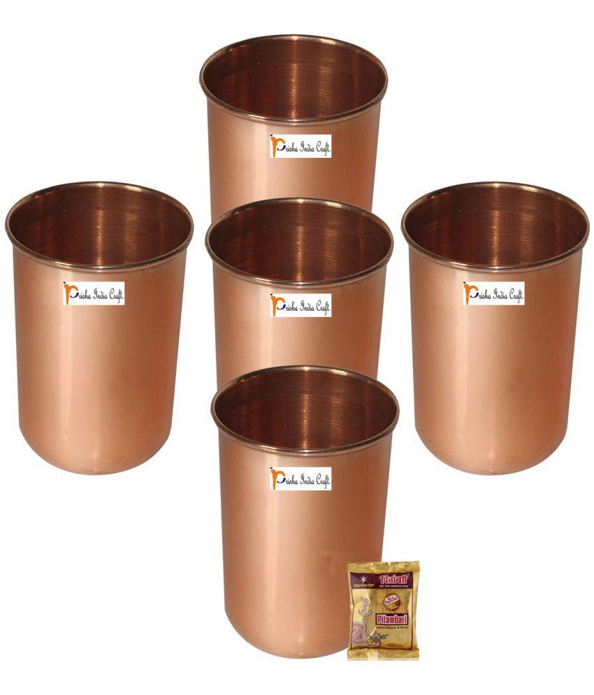 Prisha India Craft Copper Glasses - Set of 5