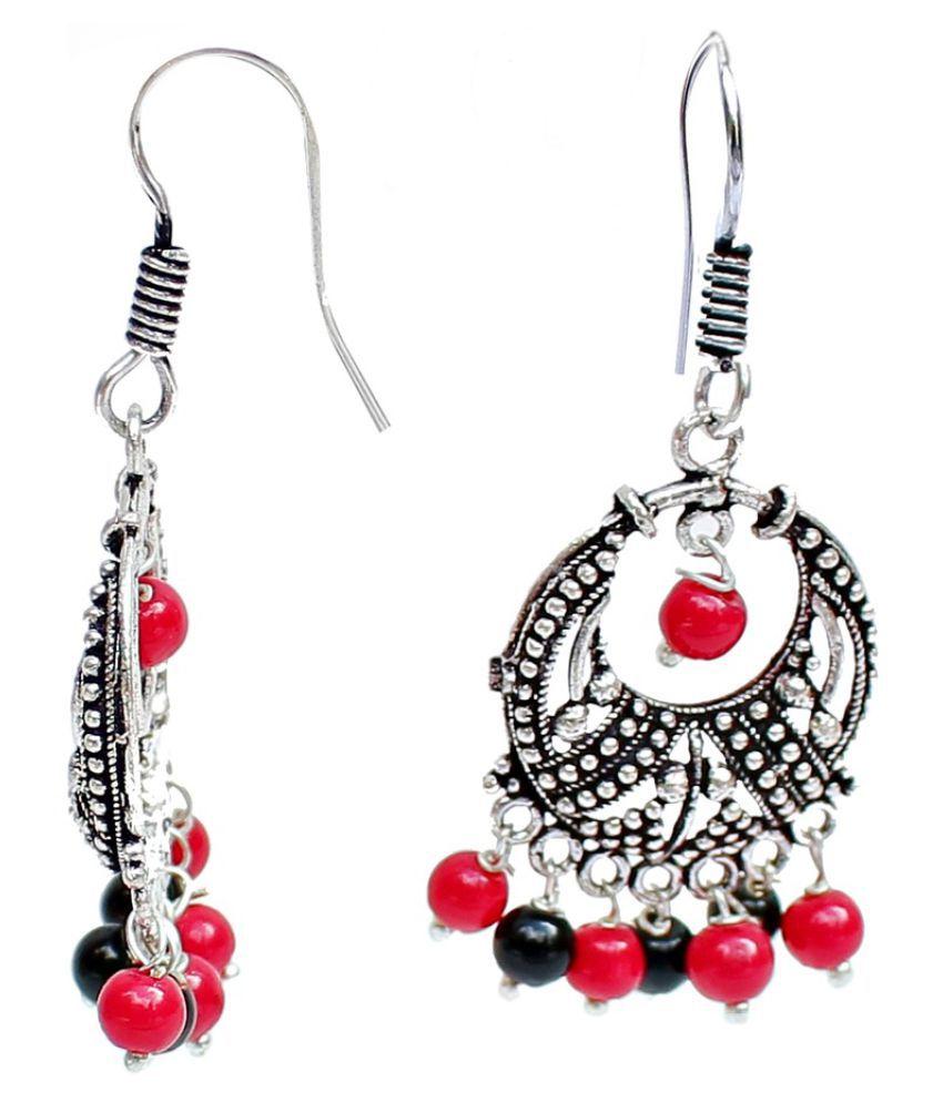Red Black Designer Hanging Silver Oxidised Earring