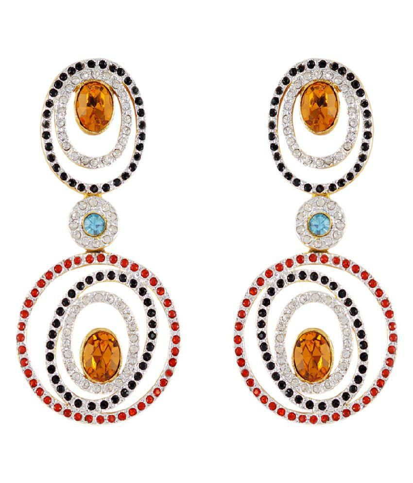 Golden Peacock Multicoloured Gold Plated Drop Earrings