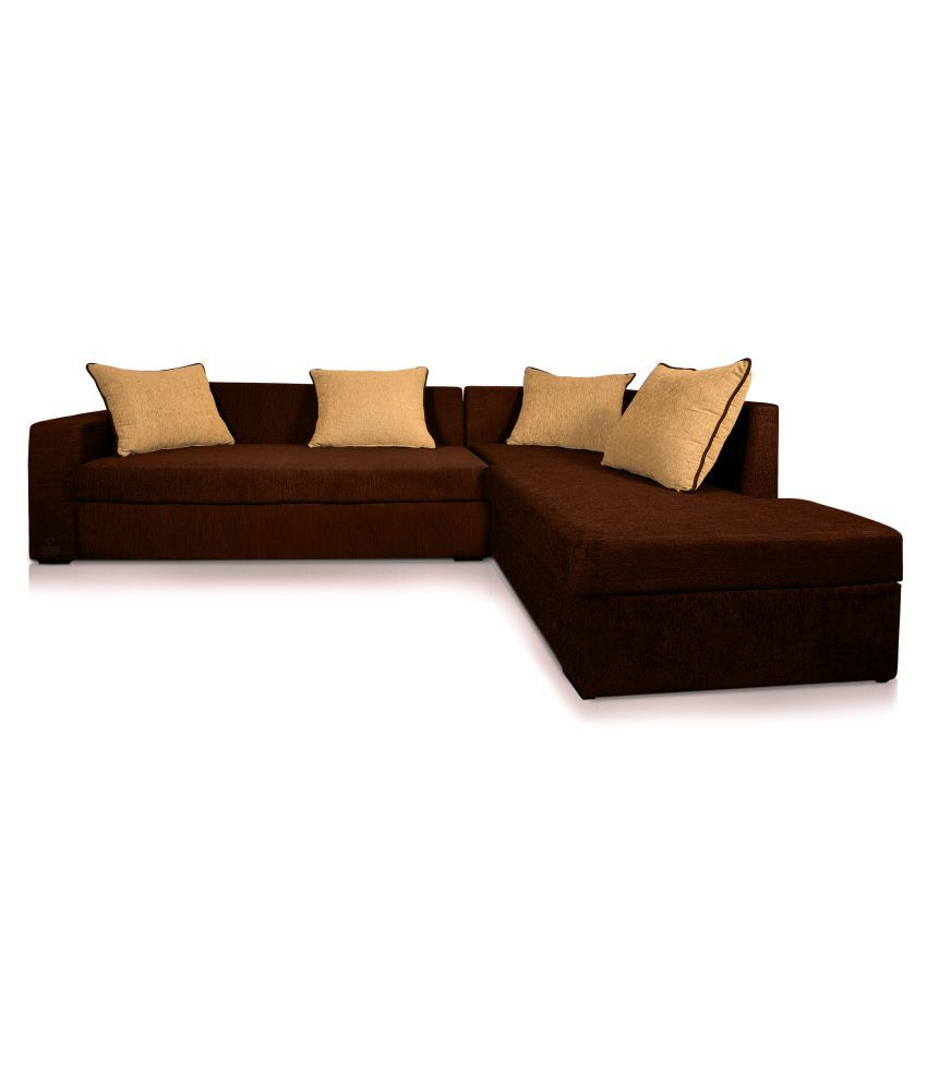 dolphin cairo l shape left fabric sofa set brown beige buy dolphin rh snapdeal com