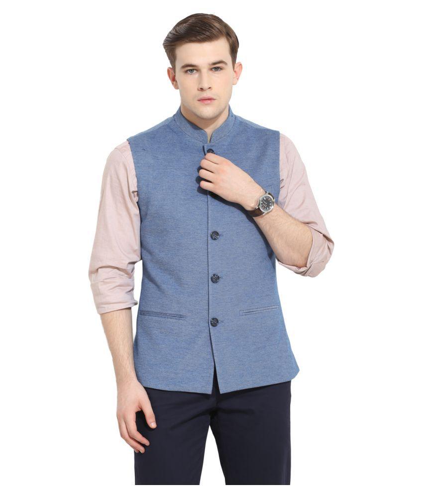Envoy Blue Solid Casual Waistcoats