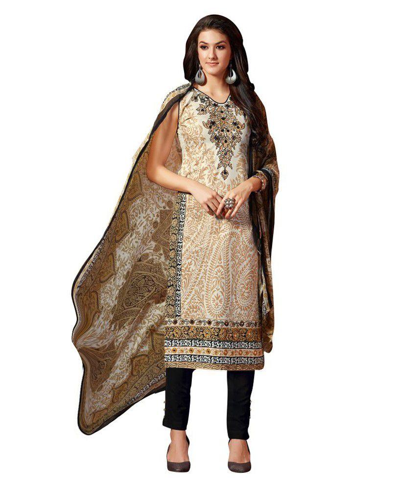 Mozzafiate Apparels Beige Cotton Dress Material